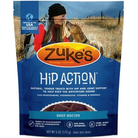 Zukes Zukes Hip Action Hip & Joint Supplement Dog Treat - Roasted Beef Recipe