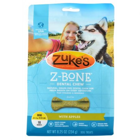 Zukes Zukes Z-Bones Dental Chews - Clean Apple Crisp