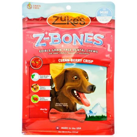 Zukes Zukes Z-Bones Dental Chews - Clean Berry Crisp