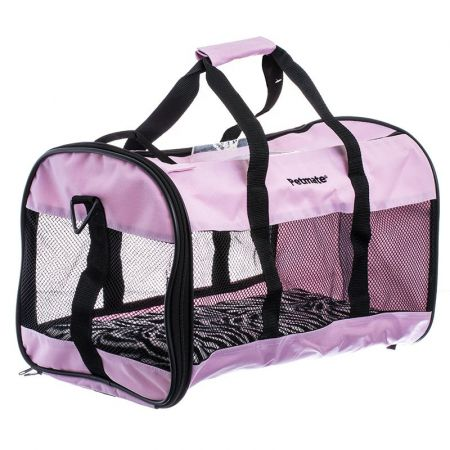 Petmate Soft Sided Kennel Cab Carrier - Pink & Zebra