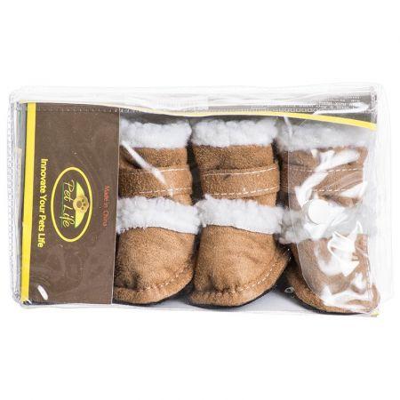 Pet Life Pet Life Shearling Duggz Zippered Dog Boots - Tan & White