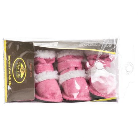 Pet Life Pet Life Shearling Duggz Zippered Dog Boots - Pink