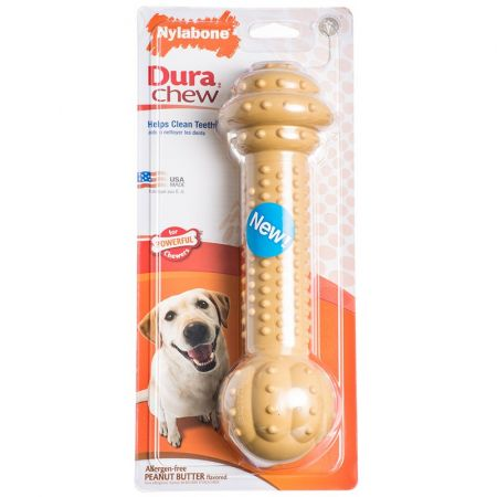 Nylabone Dura Chew Barbell Dog Chew Toy - Peanut Butter Flavor alternate view 2
