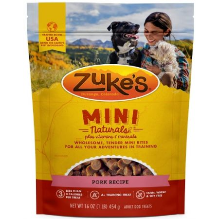Zukes Zuke's Mini Naturals Moist Dog Treats - Roasted Pork Recipe