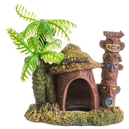 Blue Ribbon Pet Products Blue Ribbon Exotic Environments Betta Hut with Palm Tree Aquarium Ornament