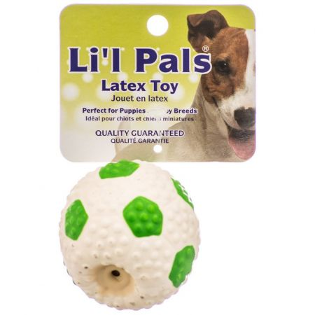 Li'l Pals Lil Pals Latex Mini Soccer Ball for Dogs - Green & White