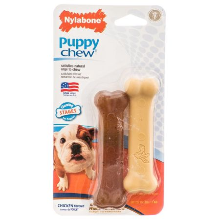 Nylabone Puppy Chew Petite Twin Pack - Chicken & Peanut Butter Nylon Chews