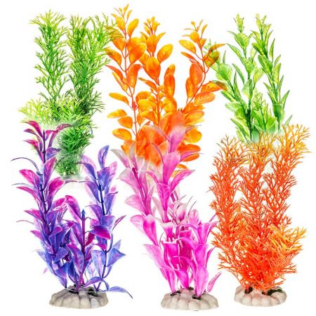 Aquatop Aquatop Plastic Aquarium Plants Power Pack - Assorted Colors