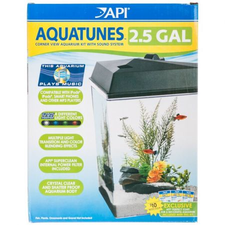 API API AquaTunes Aquarium Kit with LED Lighting, Sound System & Filter - Corner