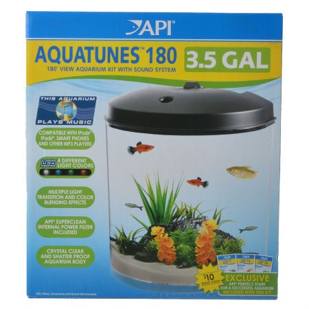 API API AquaTunes Aquarium Kit with LED Lighting, Sound System & Filter - Half-Round