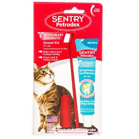 Sentry Petrodex Dental Kit for Cats with Enzymatic Toothpaste