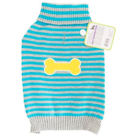 Fashion Pet Lookin' Good Striped Bone Patch Dog Sweater - Turquoise
