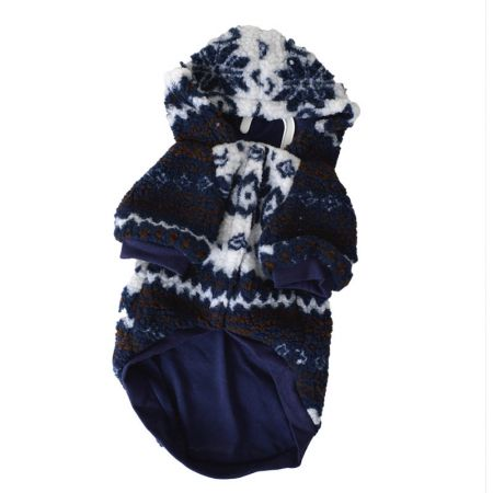 Fashion Pet Outdoor Dog Sherpa Printed Dog Coat - Navy Blue