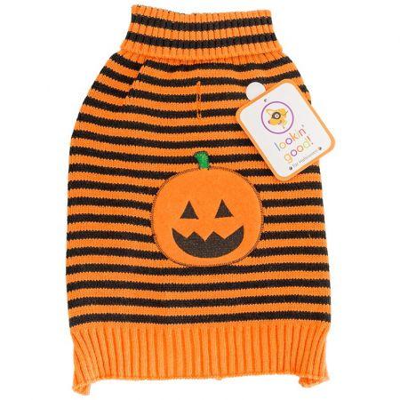 Fashion Pet Lookin' Good Striped Pumpkin Dog Sweater