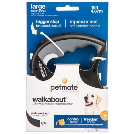 Petmate Petmate Walkabout Webbed Retractable Dog Leash - Black