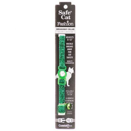 Safe Cat Jeweled Adjustable Breakaway Cat Collar - Green Glitter