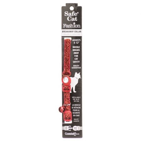 Safe Cat Jeweled Adjustable Breakaway Cat Collar - Red Glitter