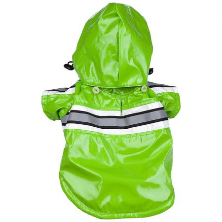 Pet Life Reflecta-Glow Adjustable & Reflective Raincoat for Dogs - Green alternate view 1