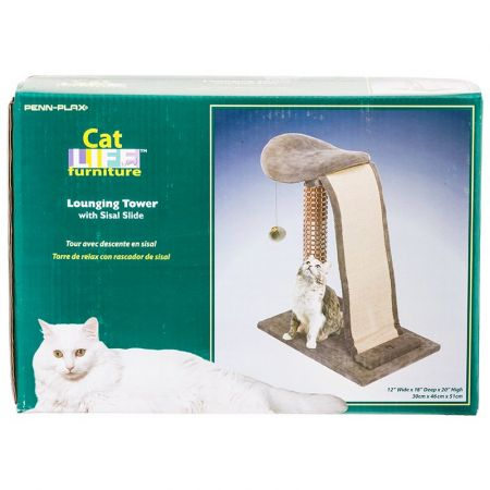Penn Plax Penn Plax Cat Life Cat Lounging Tower with Sisal Slide - Grey