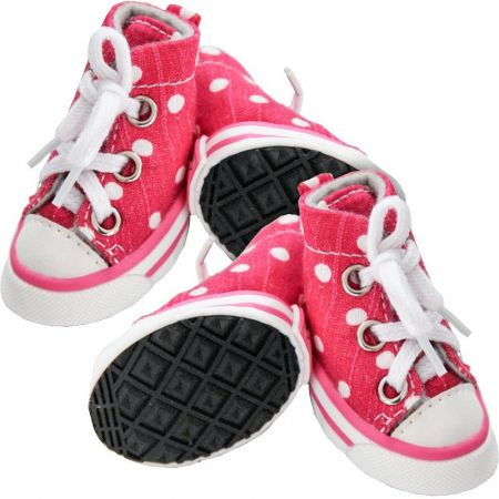 Pet Life Pet Life Extreme Skater Fashion Dog Shoes - Pink Polka Dot