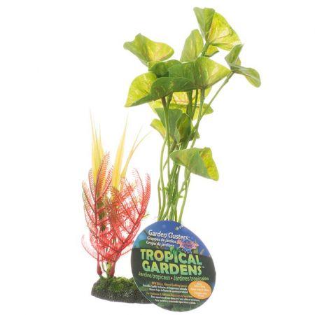 Blue Ribbon Pet Products ColorBurst Florals Pothos Red Vein Leaf Cluster Aquarium Plant