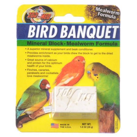 Zoo Med Bird Banquet Mineral Block - Mealworm Formula