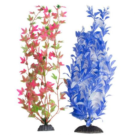 Aquatop Aquatop Multi-Colored Aquarium Plants 2 Pack - Green/Pink & Blue/White