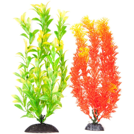 Aquatop Multi-Colored Aquarium Plants 2 Pack - Orange & Green