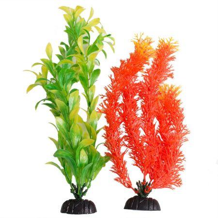 Aquatop Aquatop Multi-Colored Aquarium Plants 2 Pack - Orange & Green