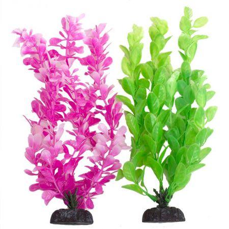 Aquatop Multi-Colored Aquarium Plants 2 Pack - Green & Pink
