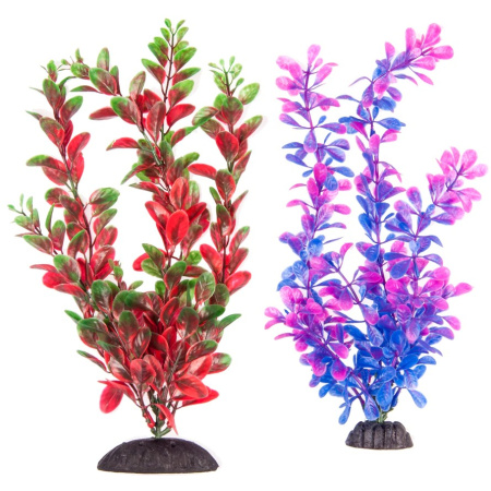 Aquatop Aquatop Multi-Colored Aquarium Plants 2 Pack - Purple/Pink & Green/Red