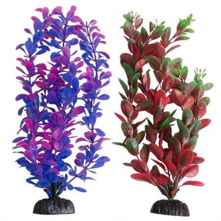 Aquatop Aquatop Multi-Colored Aquarium Plants 2 Pack - Purple/Pink & Green/Red
