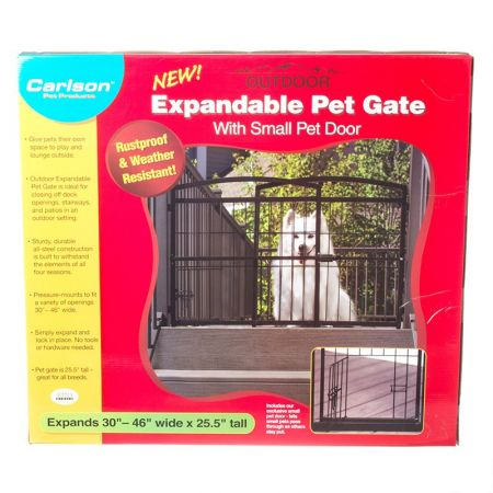 Carlson Pet Gates Carlson Weatherproof Outdoor Expandable Gate with Pet Door