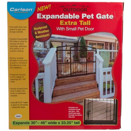 Carlson Pet Gates Carlson Weatherproof Outdoor Expandable Gate with Pet Door - Extra Tall