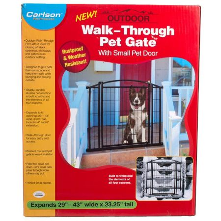 Carlson Pet Gates Carlson Weatherproof Outdoor Walk-Thru Gate with Pet Door