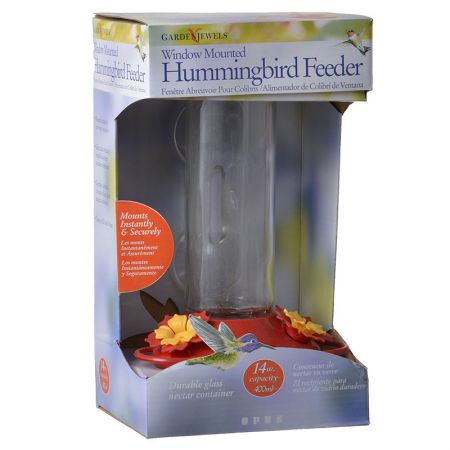 Perky Pet Garden Song Window Mounted Glass Hummingbird Feeder