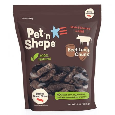 Pet 'n Shape Pet 'n Shape Natural Beef Lung Chunx Dog Treats - Sizzling Bacon Flavor