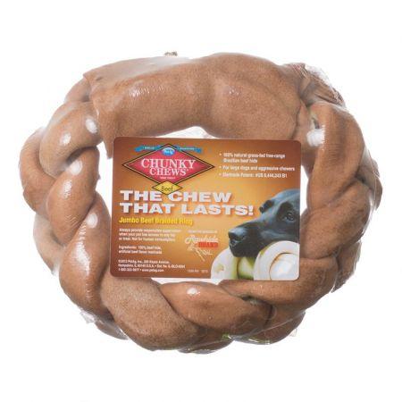 Chunky Chews Chunky Chews Solid Rawhide Jumbo Beef Braided Ring