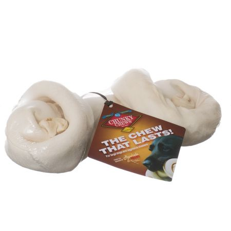 Chunky Chews Chunky Chews Solid Rawhide Natural Safety-Knot Bone