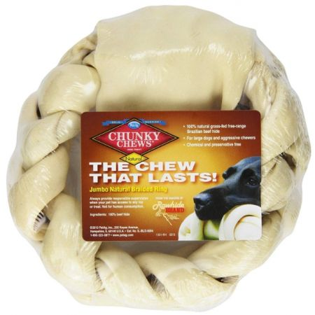 Chunky Chews Chunky Chews Solid Rawhide Natural Braided Ring