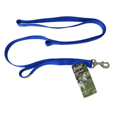 Coastal Pet Loops 2 Double Nylon Handle Leash - Blue