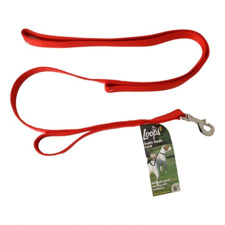 Coastal Pet Loops 2 Double Nylon Handle Leash - Red