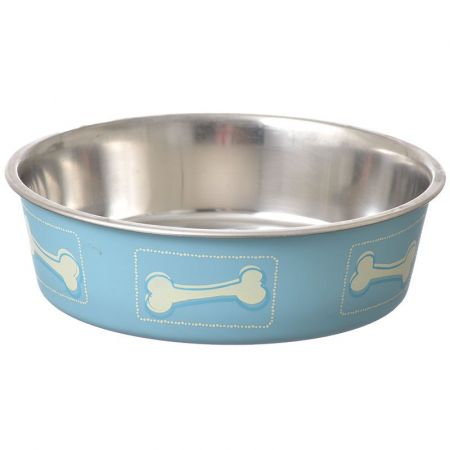 Loving Pets Stainless Steel & Coastal Blue Bella Bowl with Rubber Base alternate view 2