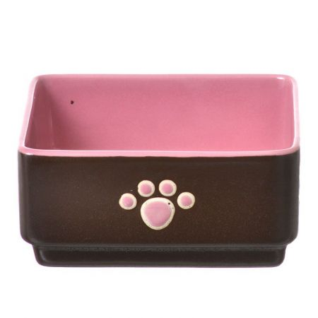Spot Spot Four Square Dog Dish - Pink