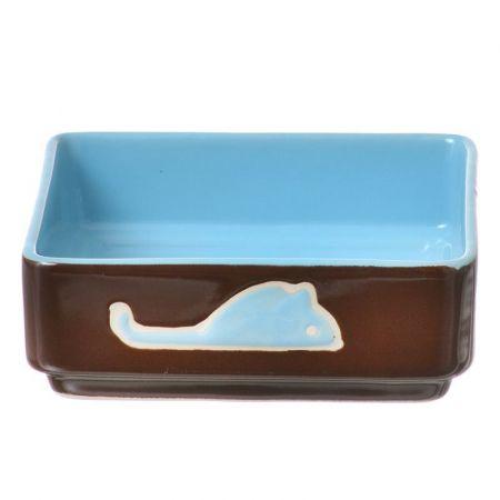 Spot Spot Four Square Cat Dish - Blue
