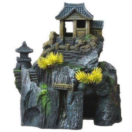 Blue Ribbon Pet Products Exotic Environments Asian Cottage House with Bonsai Aquarium Ornament