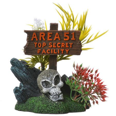 Blue Ribbon Pet Products Exotic Environments Area 51 Top Secret Sign Aquarium Ornament