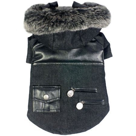 Pet Life Pet Life Black Denim Choppered Dog Coat