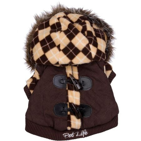 Pet Life Pet Life Brown Argyle Suede Dog Coat with Removable Hood