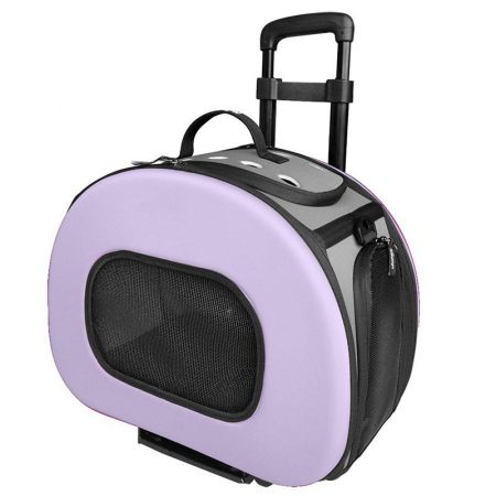 Pet Life Wheeled Tough-Shell Lavender Collapsible Pet Carrier alternate view 1